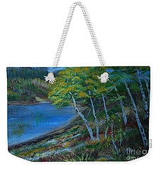 Weekender Tote Bag featuring the painting Favorite Fishin' Hole by Leslie Allen
