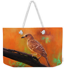 Fawn Breasted Bower Bird Weekender Tote Bag