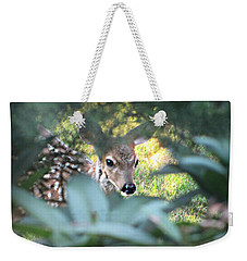 Fawn Peeking Through Bushes Weekender Tote Bag