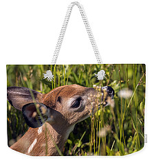 Fawn Smelling The Wildflowers Weekender Tote Bag