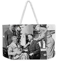Weekender Tote Bag featuring the photograph Fdr Presenting Medal Of Honor To William Wilbur by War Is Hell Store