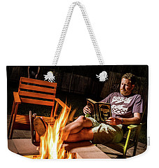 Weekender Tote Bag featuring the photograph Fear By Fire by T Brian Jones