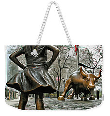 Fearless Girl And Wall Street Bull Statues 5 Weekender Tote Bag