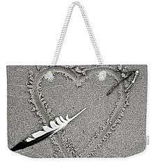 Feather Arrow Through Heart In The Sand Weekender Tote Bag