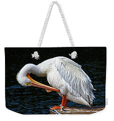 Weekender Tote Bag featuring the photograph Feather Check by HH Photography of Florida