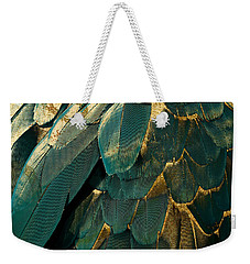 Feather Glitter Teal And Gold Weekender Tote Bag by Mindy Sommers