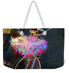 Weekender Tote Bag featuring the photograph Feather Jazz Bicycle by Craig J Satterlee