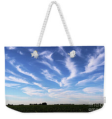 Weekender Tote Bag featuring the photograph Feathers In Blue Sky by Yumi Johnson