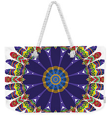 Feathers In The Round Weekender Tote Bag by Mary Machare