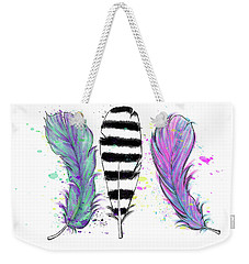 Weekender Tote Bag featuring the digital art Feathers by Lizzy Love
