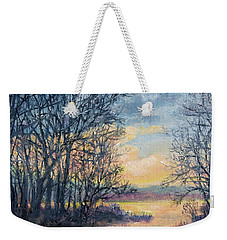 Weekender Tote Bag featuring the painting February Sky by Kathleen McDermott