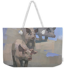Weekender Tote Bag featuring the painting Feed Time by Steve Mitchell