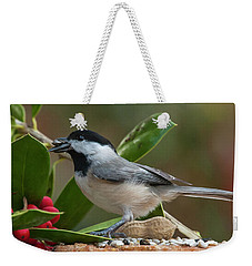 Feeding Chickadee And Holly Weekender Tote Bag