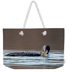 Feeding Common Loon Square Weekender Tote Bag by Bill Wakeley