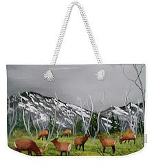 Feeding Elk Weekender Tote Bag by Al Johannessen
