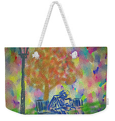 Weekender Tote Bag featuring the painting Feeding The Birds by Kevin Caudill