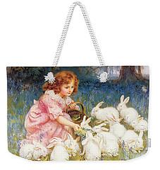 Feeding The Rabbits Weekender Tote Bag by Frederick Morgan