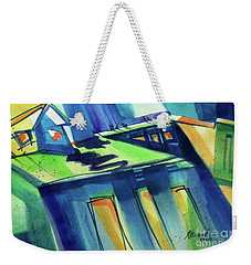 Weekender Tote Bag featuring the painting Feedmill In Blue And Green by Kathy Braud