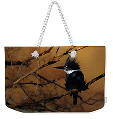Weekender Tote Bag featuring the digital art Female Belted Kingfisher 2 by Ernie Echols