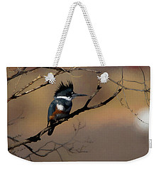 Weekender Tote Bag featuring the digital art Female Belted Kingfisher by Ernie Echols