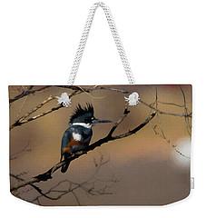 Female Belted Kingfisher Weekender Tote Bag by Ernie Echols