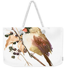 Female Cardinal Bird Weekender Tote Bag by Suren Nersisyan