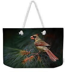 Female Cardinal On Evergreen Weekender Tote Bag