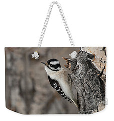 Female Downey Woodpecker Weekender Tote Bag