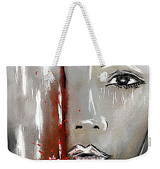 Female Half Face On Grey Abstract Weekender Tote Bag