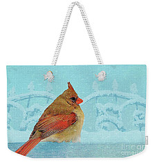 Weekender Tote Bag featuring the photograph Female Northern Cardinal In Winter by Janette Boyd