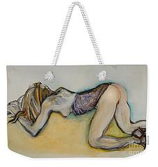 Weekender Tote Bag featuring the painting Female Nude - Begging Beth by Carolyn Weltman