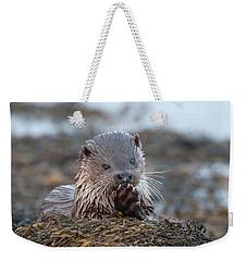 Female Otter Eating Weekender Tote Bag