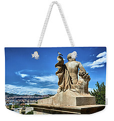 Weekender Tote Bag featuring the photograph Female Sculpture At Montjuic by Eduardo Jose Accorinti