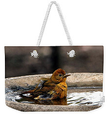 Female Summer Tanager In Bird Bath Weekender Tote Bag