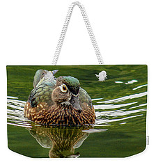 Weekender Tote Bag featuring the photograph Female Wood Duck by Jean Noren