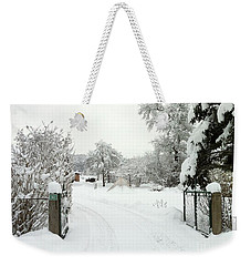 Weekender Tote Bag featuring the photograph Fence And  Gate In Winter by Wilhelm Hufnagl