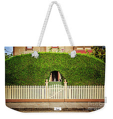 Weekender Tote Bag featuring the photograph Fence, Hedge, Dog And Cat by Craig J Satterlee