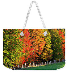 Weekender Tote Bag featuring the photograph Fence Line Foliage by Alan L Graham