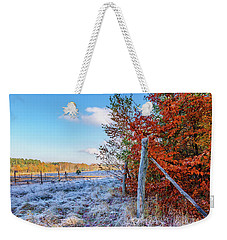 Weekender Tote Bag featuring the photograph Fenced Autumn by Dmytro Korol
