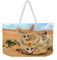 Weekender Tote Bag featuring the digital art Fennec Foxes by Thanh Thuy Nguyen