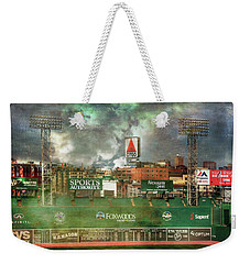 Weekender Tote Bag featuring the photograph Fenway Park Green Monster And Citgo Sign by Joann Vitali