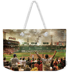 Weekender Tote Bag featuring the photograph Fenway Park Green Monster by Joann Vitali