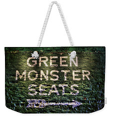 Weekender Tote Bag featuring the photograph Fenway Park Green Monster Seats by Joann Vitali
