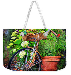 Weekender Tote Bag featuring the photograph Fern Dale Flower Bicycle by Craig J Satterlee