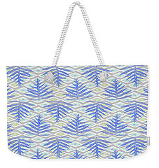 Ferns On Diamonds Indigo Gray Weekender Tote Bag