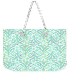 Ferns On Diamonds Pale Teal Weekender Tote Bag