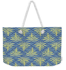 Ferns On Diamonds Yellow Indigo Weekender Tote Bag