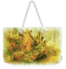 Weekender Tote Bag featuring the photograph Festive Holiday Candle by Lois Bryan