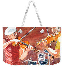 Weekender Tote Bag featuring the painting Fiddles by Karen Ilari