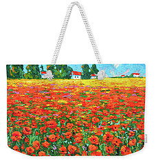 Weekender Tote Bag featuring the painting Field And Poppies by Dmitry Spiros
